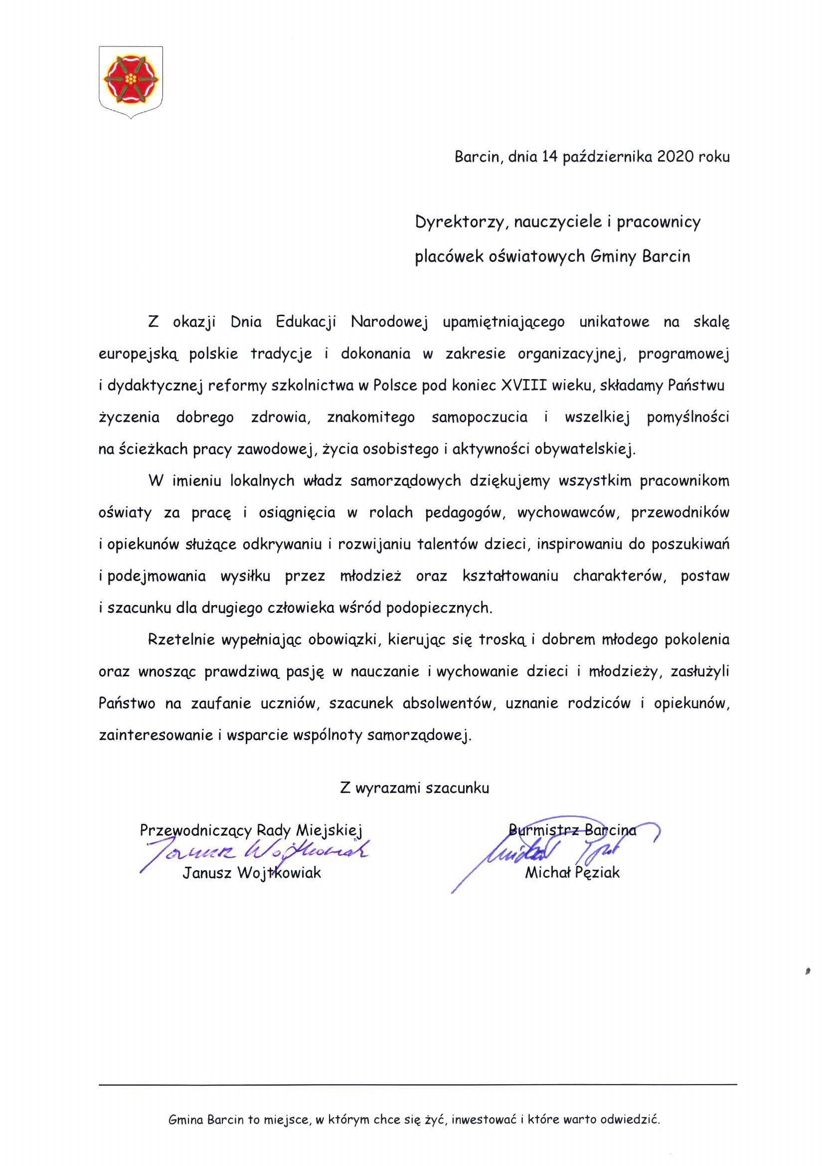 Dzien Edukacji Narodowej Aktualnosci Gmina Barcin
