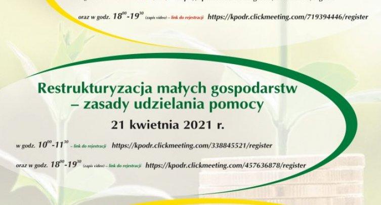 Plakat promujący szkolenia on-line dla rolników organizowane przez  Kujawsko-Pomorski Ośrodek Doradztwa Rolniczego w Minikowie.